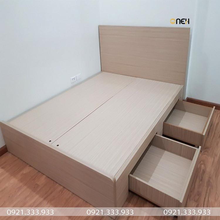 Giường gỗ công nghiệp có ngăn kéo hiện đại