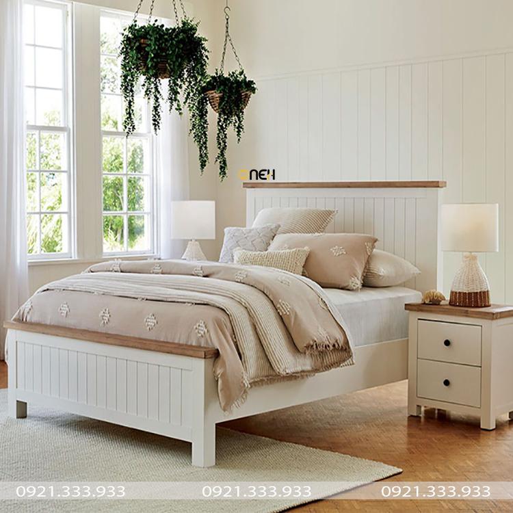 Giường gỗ công nghiệp trắng có chân