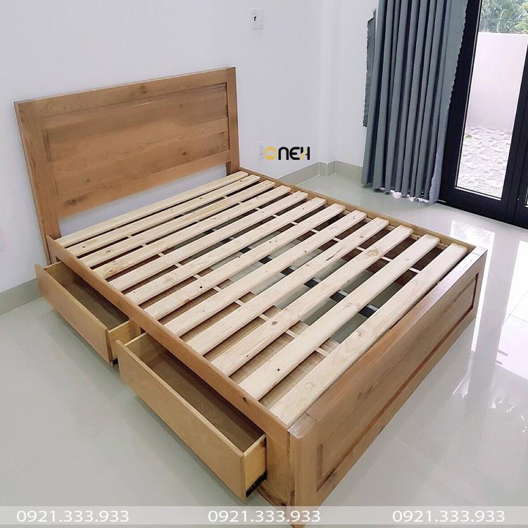 Giường gỗ sồi có ngăn kéo hiện đại