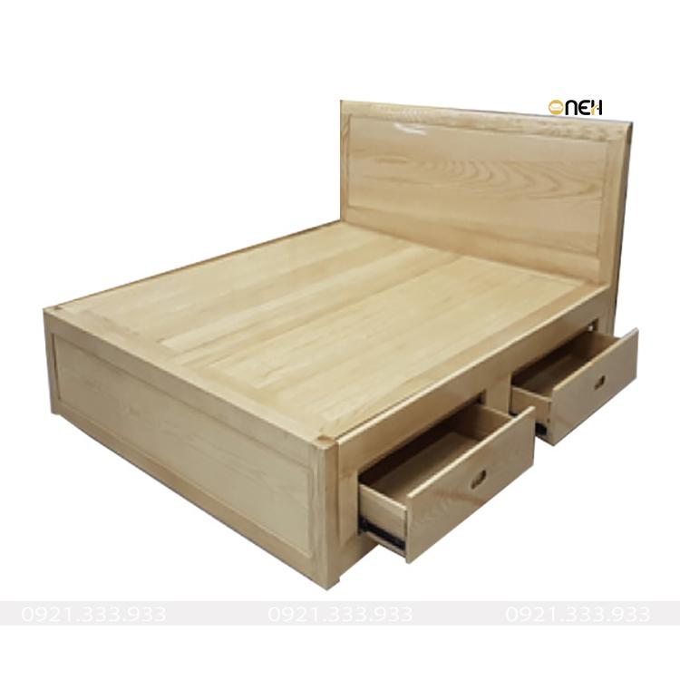 Giường gỗ sồi có ngăn kéo