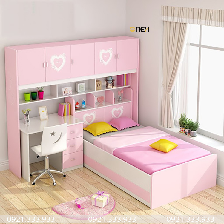 Giường ngủ màu hồng cho bé