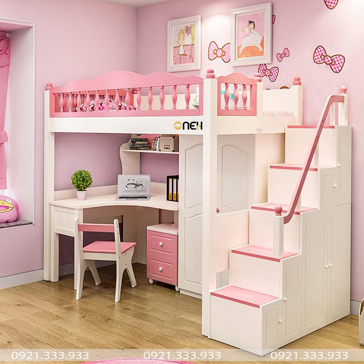 Giường ngủ thiết kế xinh xắn cho bé gái