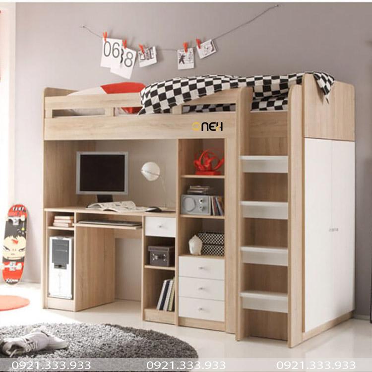 Giường ngủ kèm bàn học được làm bằng gỗ công nghiệp hiện đại