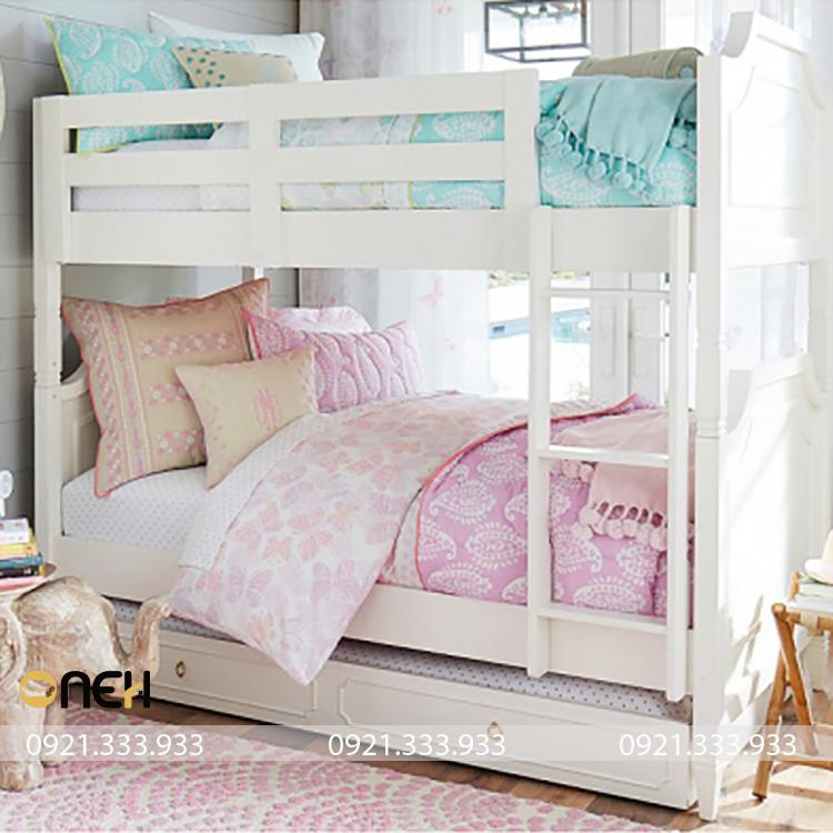 Thiết kế mẫu giường tầng cho bé gái mang tính thẩm mỹ cao