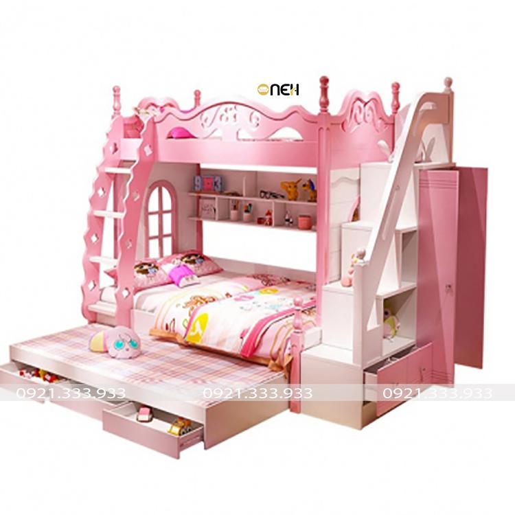 Giường tầng cho bé gái màu hồng đẹp mắt