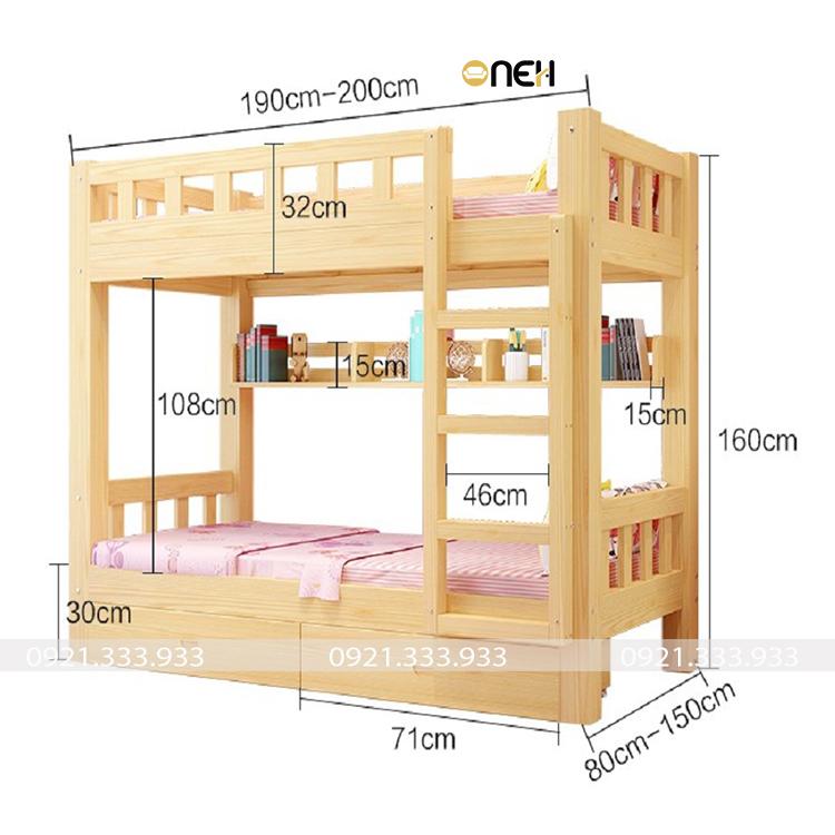 Giường tầng gỗ sồi có độ chắc chắn và chịu lực tốt