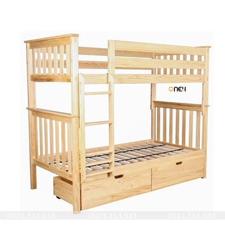 Giường tầng có thiết kế 2 hộc tủ kéo vô cùng tiện lợi