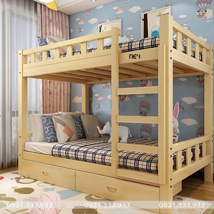 Giường tầng bằng gỗ chắc chắn