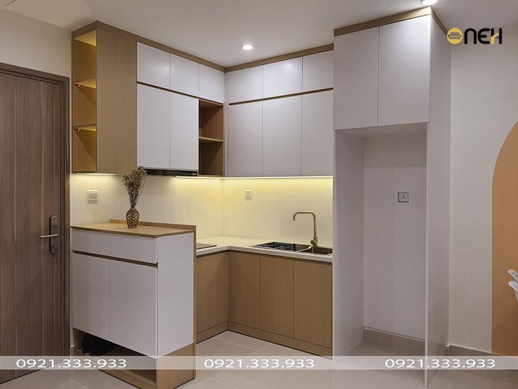 Tủ bếp gỗ công nghiệp nhỏ gọn cho các căn hộ chung cư