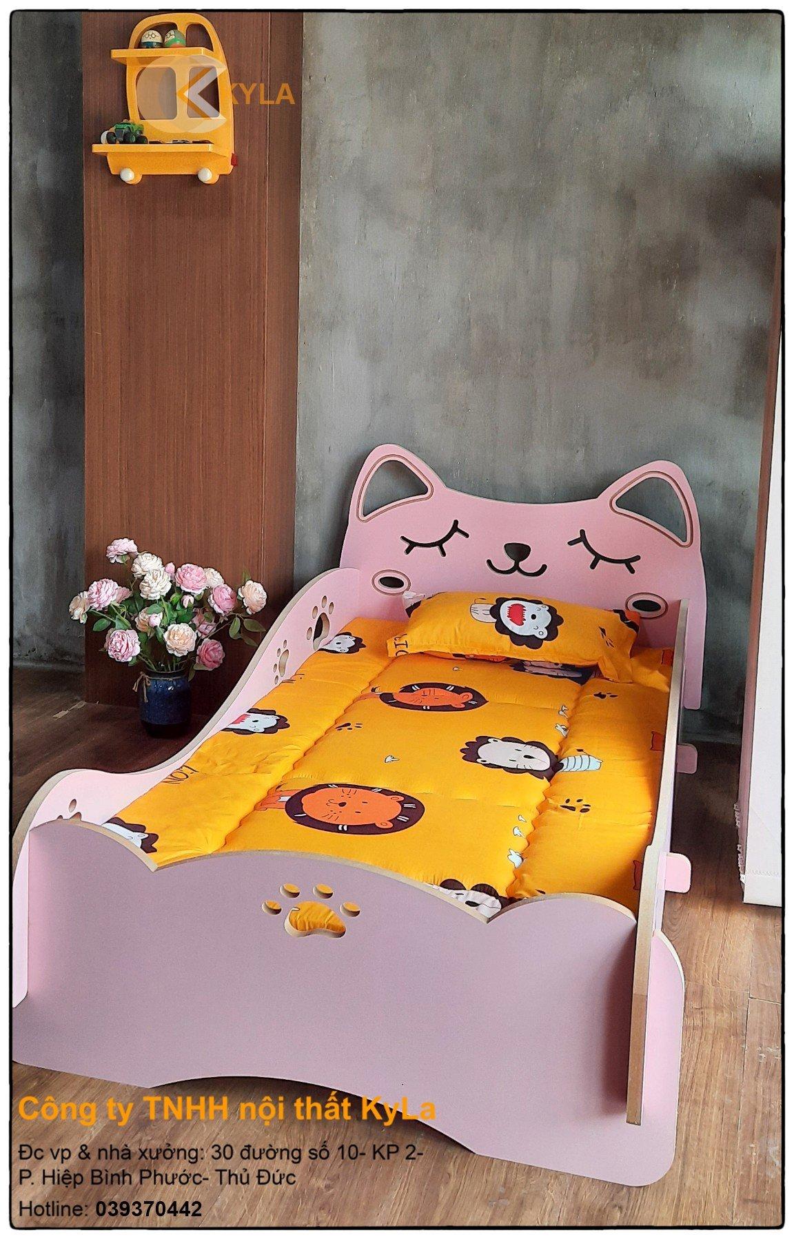 giường ngủ mèo mơ mdf cho bé
