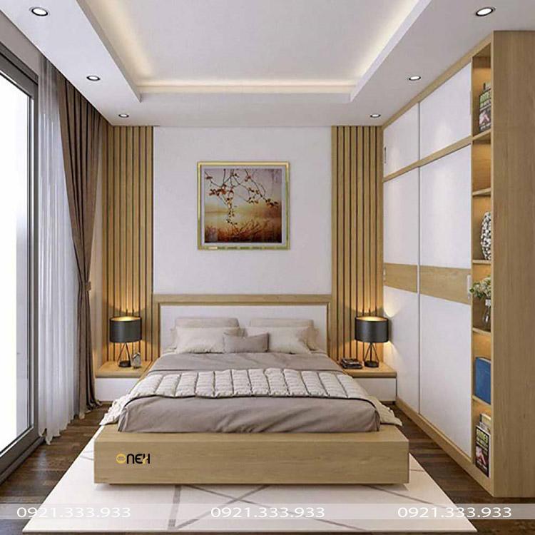 Giường ngủ vợ chồng được bố trí phù hợp phong thủy