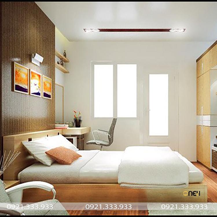 Giường ngủ được làm bằng gỗ chắc chắn
