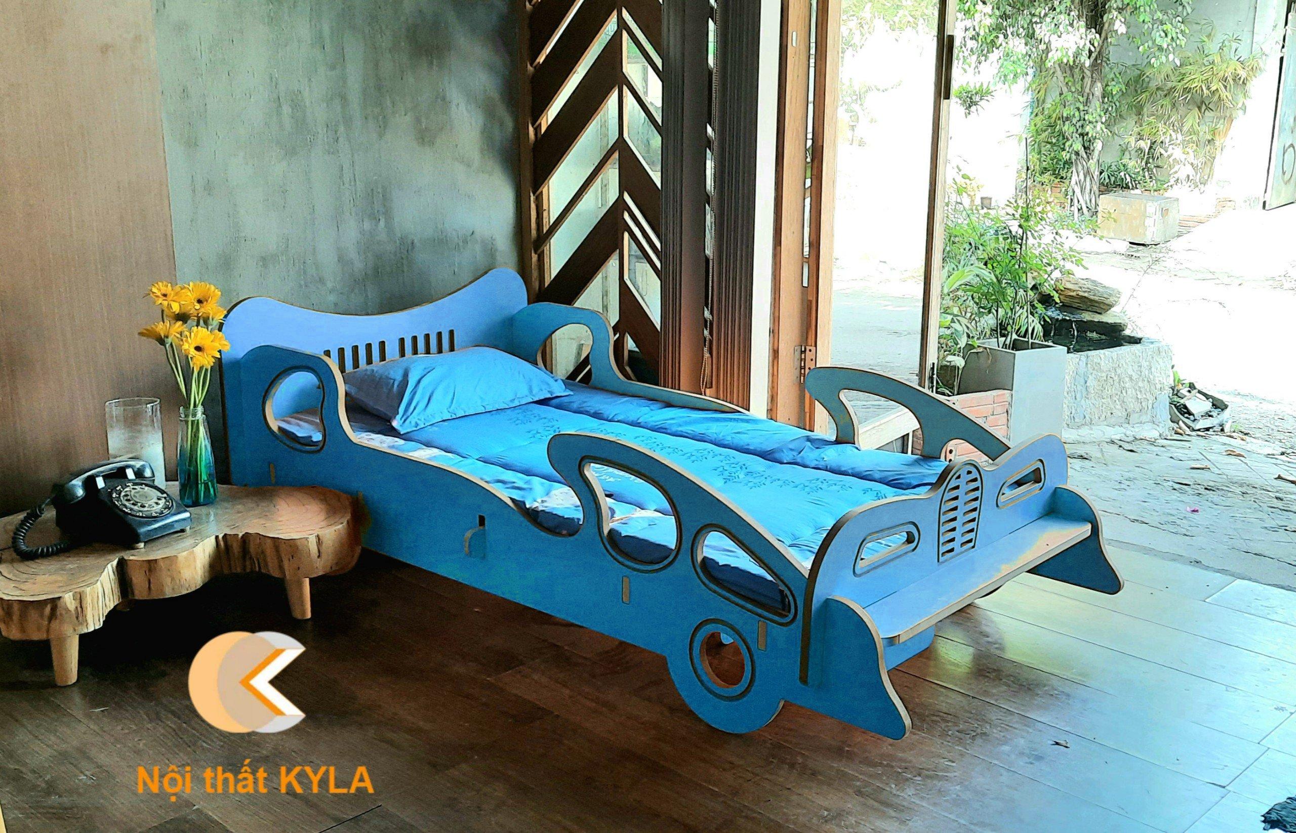 Giường ngủ siêu xe Bulgatti MDF Màu Xanh Biển