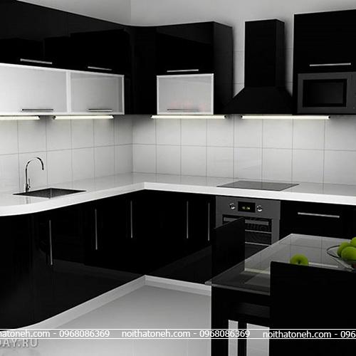 Tủ Bếp Acrylic Màu Đen