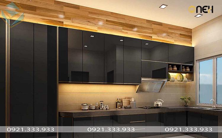 Thiết kế tủ bếp acrylic màu đen nhiều ngăn, mang đến nhiều tiện ích