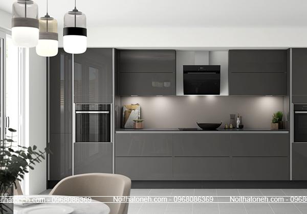 Tủ Bếp Acrylic Màu Ghi