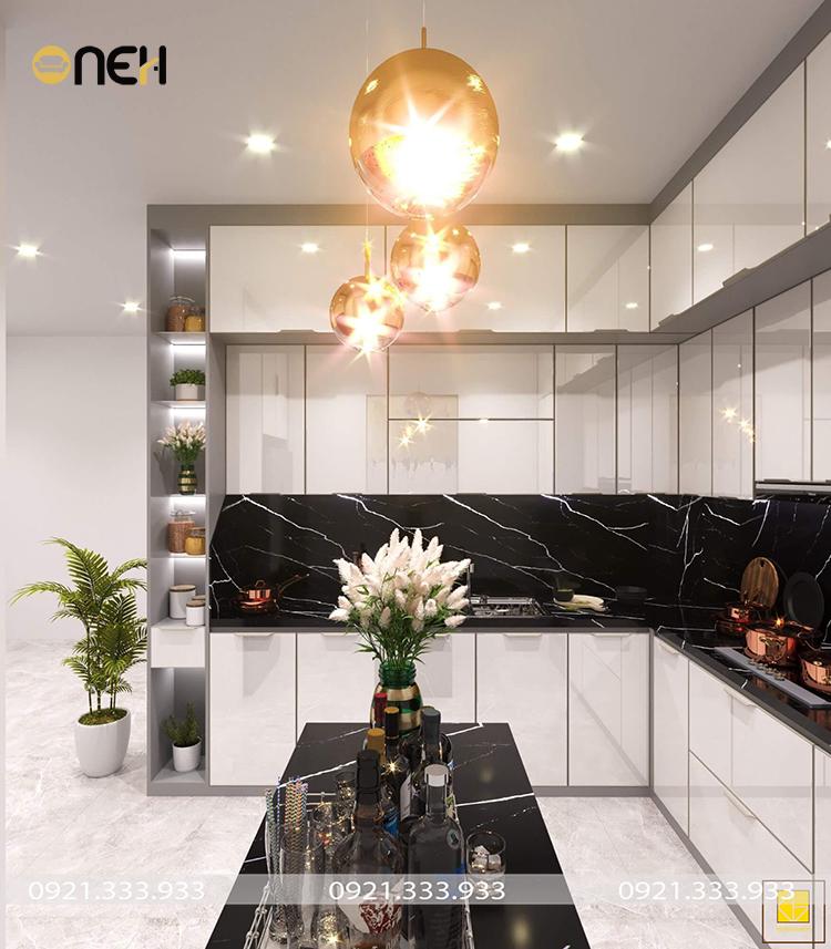 Tủ bếp acrylic màu trắng thiết kế sáng bóng, mang hơi thở hiện đại