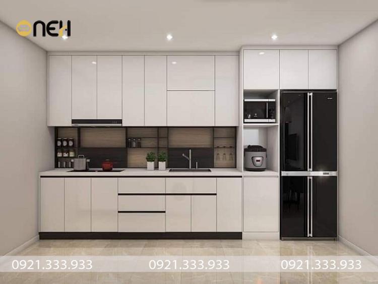 Tủ bếp acrylic màu trắng chữ I thiết kế nhỏ gọn pủ hợp nhiều không gian