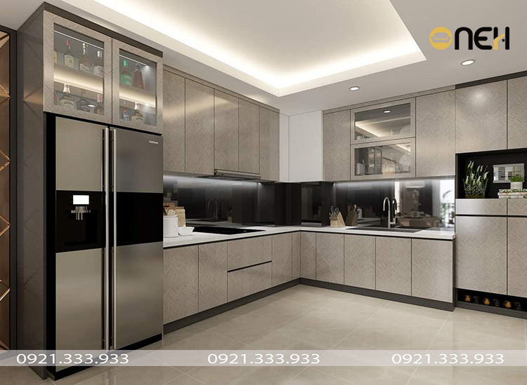 Tủ bếp acrylic màu xám chữ L đường nét thiết kế đơn giản, tinh tế