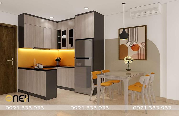 Kết cấu tủ bếp acrylic màu xám bền chắc, khả năng kháng nước