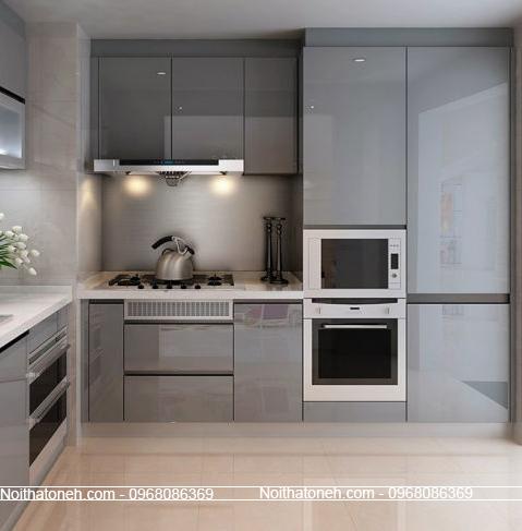 Tủ Bếp Acrylic Màu Xám
