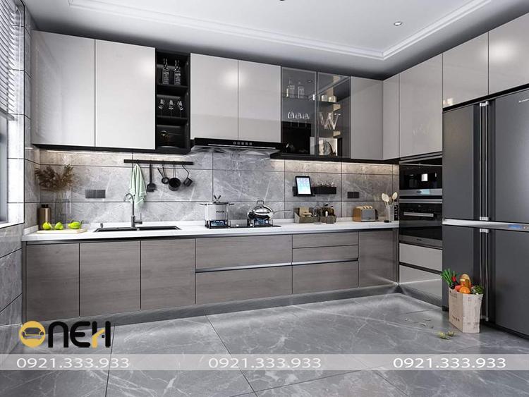 Tủ bếp acrylic màu xám sang trọng, mang hơi thở hiện đại