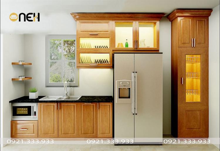 Mẫu tủ bếp xoan đào chữ I thiết kế nhỏ gọn, đơn giản phù hợp không gian nhiều gia đình