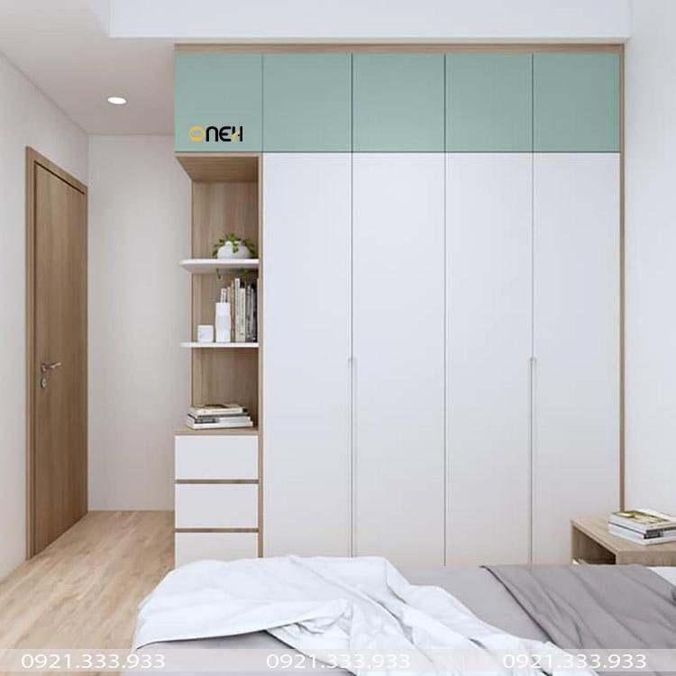 Mẫu tủ quần áo gỗ công nghiệp 1m6 thiết kế phối hợp màu sắc hài hòa