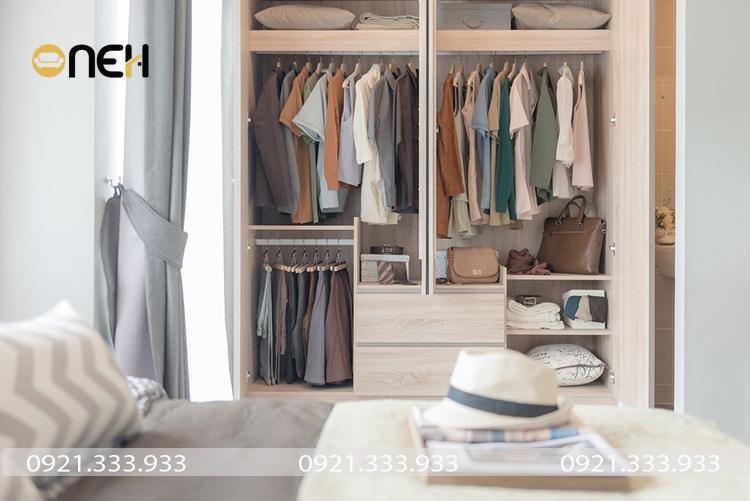 Tủ quần áo gỗ công nghiệp kết cấu nhiều ngăn mang đến không gian cất trữ lớn