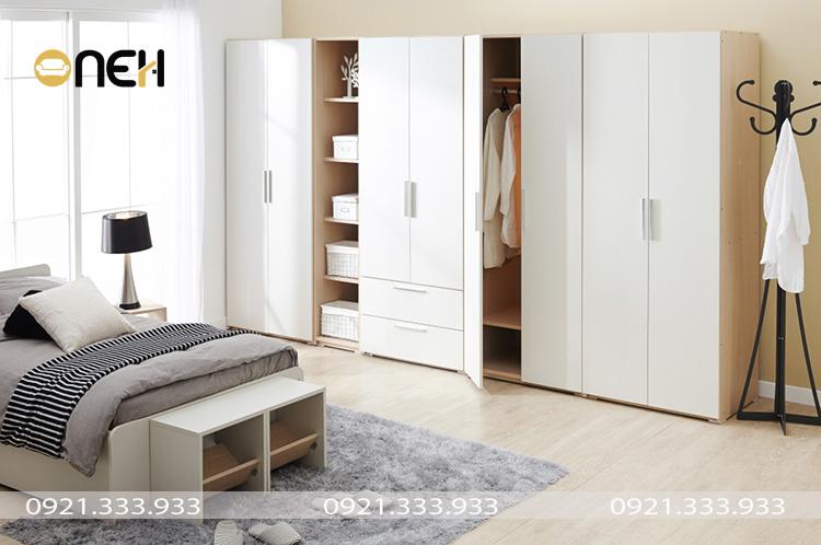Tủ quần áo gỗ công nghiệp 5 cánh kết cấu nhiều ngăn