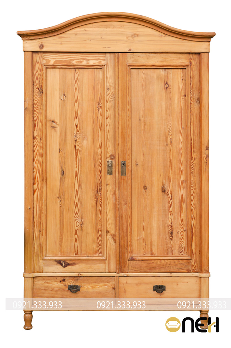 Thiết kế mẫu tủ quần áo gỗ sồi 2 cánh phong cách cổ điển