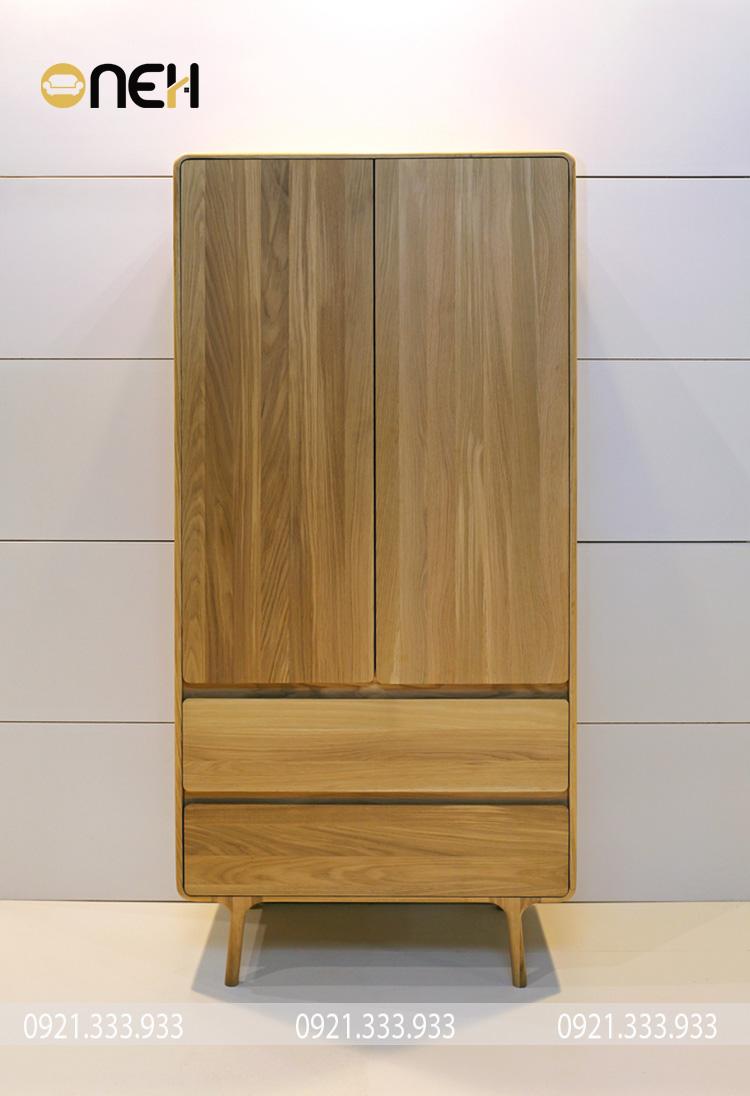 Thiết kế tủ quần áo gỗ sồi 2 cánh nhỏ gọn, tiện nghi