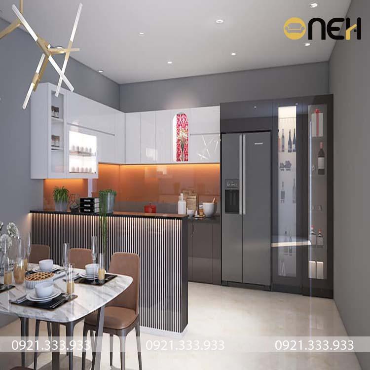 Tủ bếp được làm bằng gỗ MFC phủ acrylic bóng