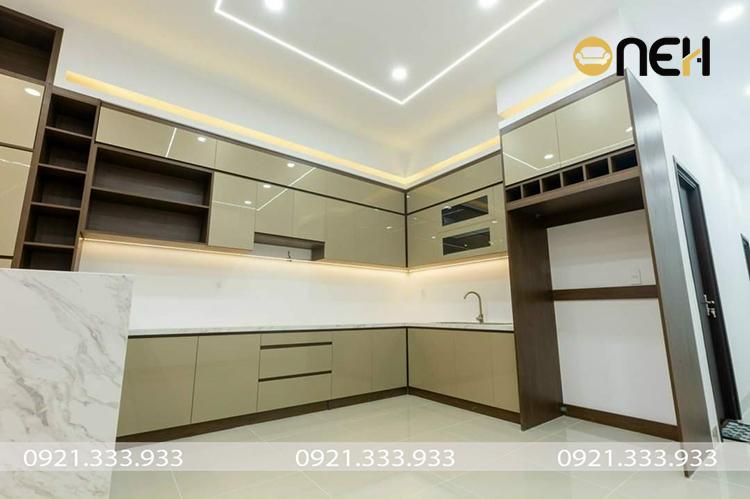 Tủ bếp gỗ công nghiệp MDF thiết kế đa năng, không gian cất trữ lớn