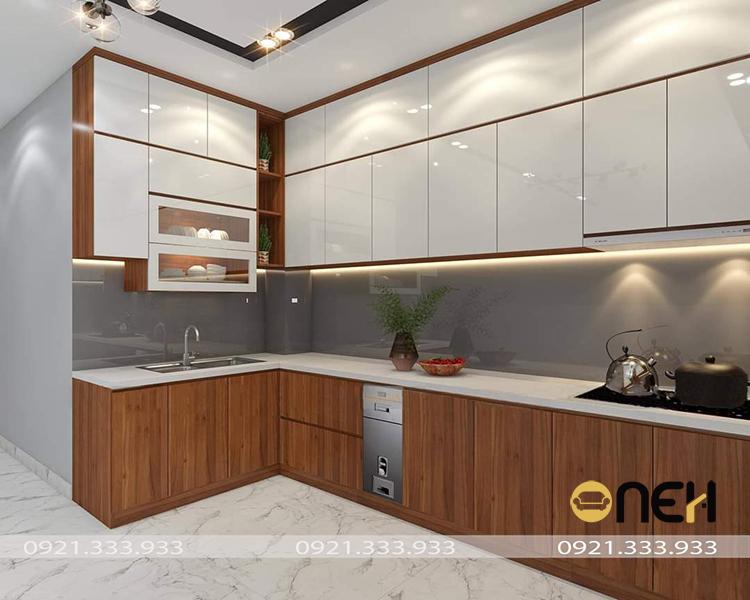 Tủ bếp gỗ công nghiệp Melamine thiết kế tích hợp nhiều ưu điểm