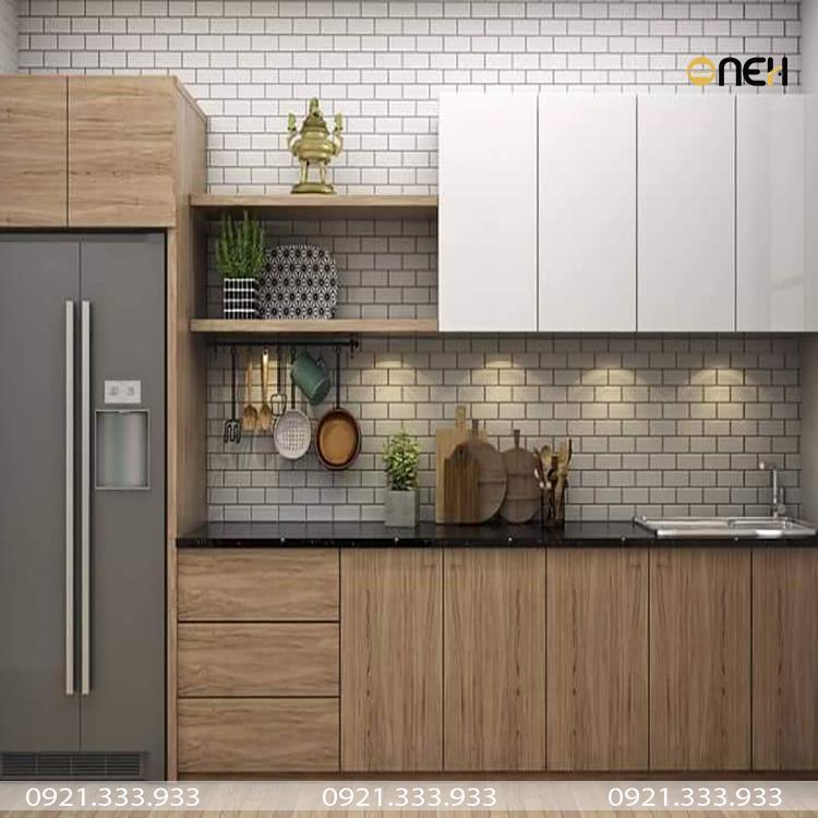 Tủ bếp laminate kết cấu chắc chắn, chịu được trọng lực