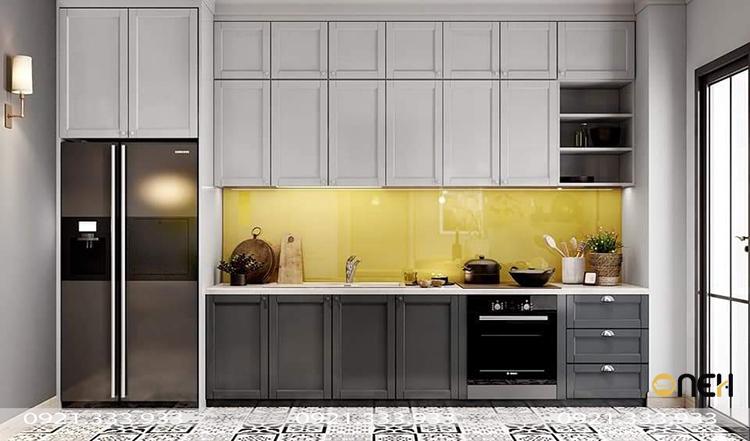 Thiết kế bộ tủ bếp gỗ phủ một lớp Acrylic lên bề mặt tạo nên một sản phẩm bóng gương, nhẵn mịn