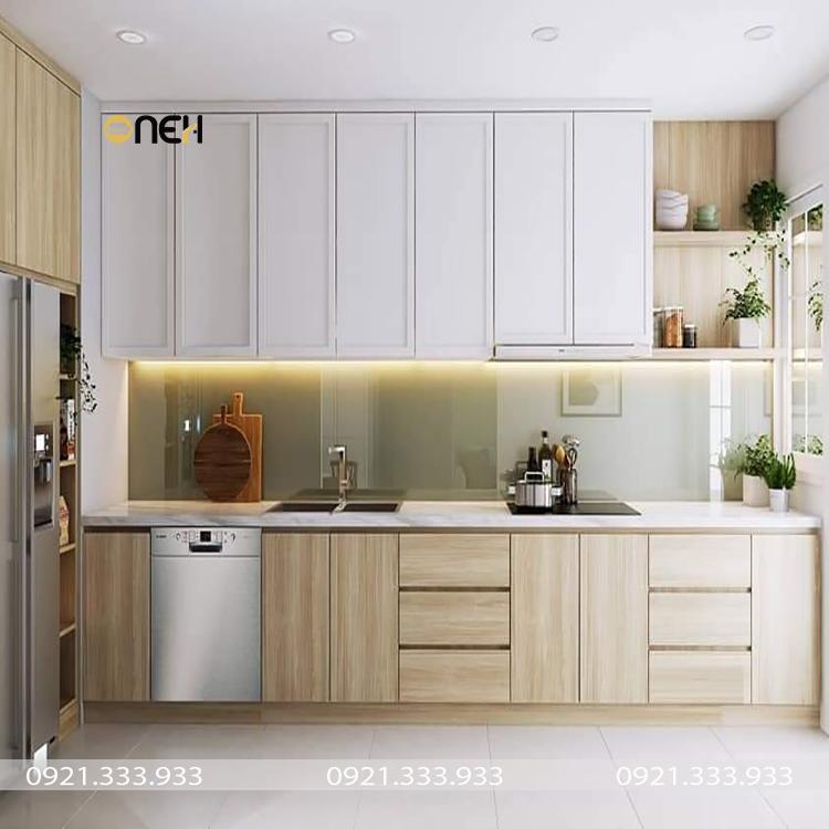 Bộ tủ bếp gỗ công nghiệp màu sắc sang trọng, hiện đại