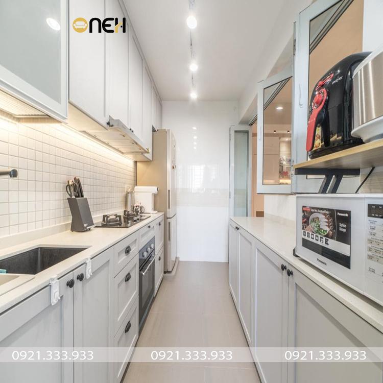Kết cấu tủ bếp đẹp bằng gỗ bền chắc, tiện ích