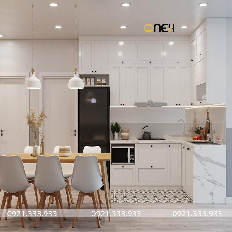 Tủ bếp đẹp bằng gỗ phong cách tân cổ điển sang trọng, hiện đại
