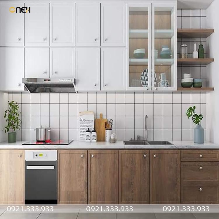 Tủ bếp gỗ chữ I kết cấu đảm bảo khai thác tối đa công năng