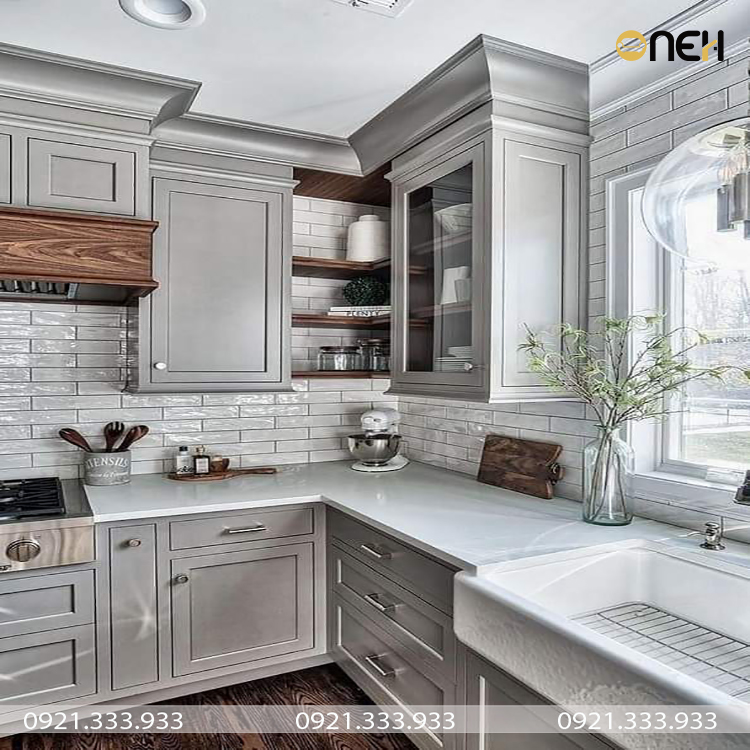 Tủ bếp gỗ đẹp phong cách tân cổ điển sang trọng