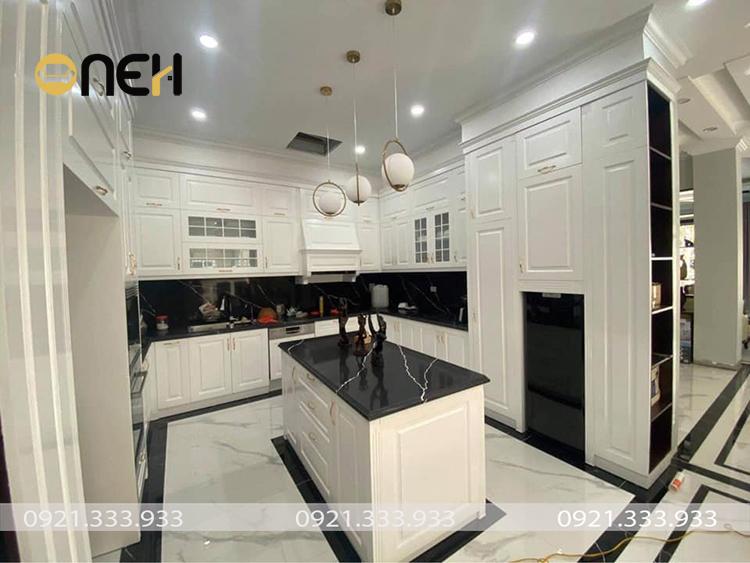 Thiết kế tủ bếp mang phong cách tân cổ điển đậm chất nghệ thuật