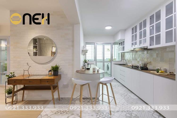 Tủ bếp phong cách tân cổ điển thiết kế đơn giản phù hợp nhiều không gian