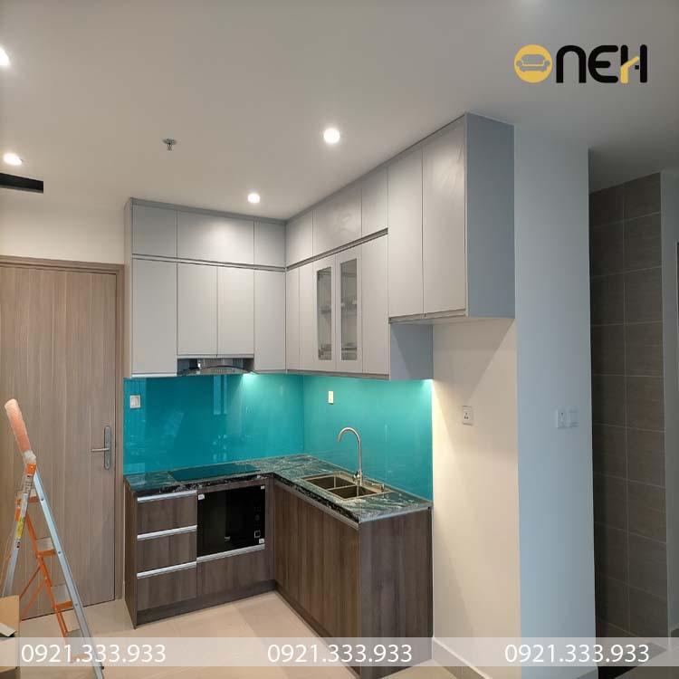 Tủ bếp chữ L gỗ MDF cho phòng bếp có diện tích nhỏ