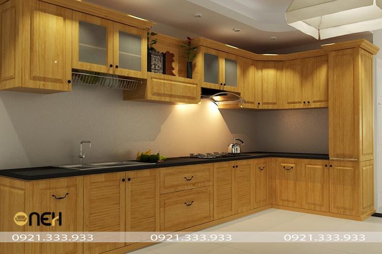 Tủ bếp gỗ pơ mu thiết kế sang trọng, hiện đại