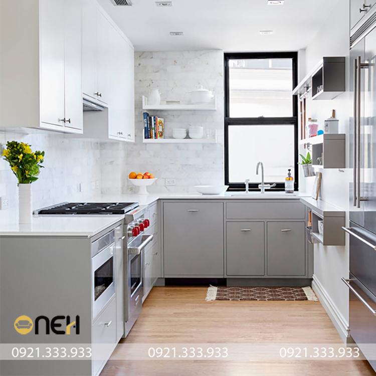 Mẫu tủ bếp mini cho phòng trọ được trang bị tích hợp các chức năng cần