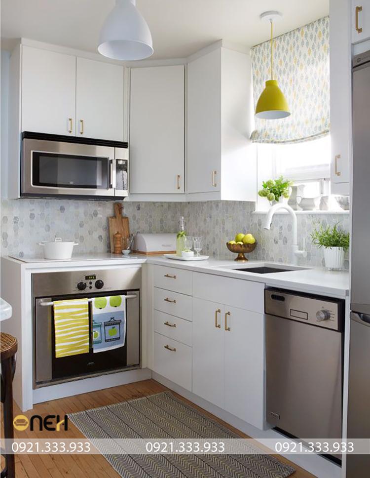 Mẫu tủ bếp kiểu dáng chữ L mini thiết kế tiện ích, các vật dụng phụ kiện tủ bếp được thiết kế âm tủ