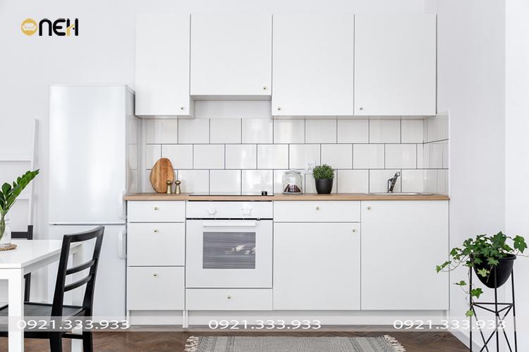 Mãu tủ bếp mini chữ I với thiết kế đơn giản, nhẹ nhàng, tinh tế