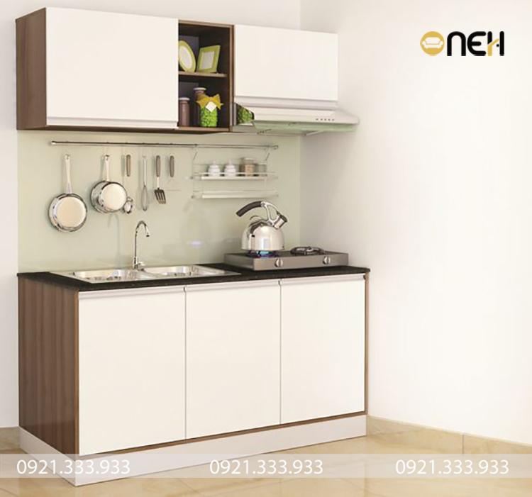 Tủ bếp thiết kế đường nét đơn giản, nhẹ nhàng